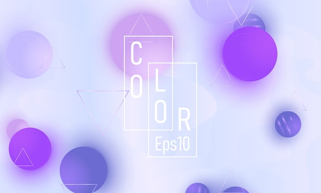Violette zachte bollen. kleur achtergrond. vloeistofpatroon. 3d geometrische vormen.