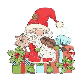 Violin santa music vrolijk kerstfeest
