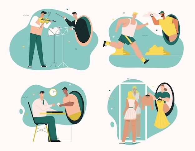 Violist speelt met dirigent. opleiding van coach en sportman. klant betaalt aan manager. mode-stylist kiest outfits