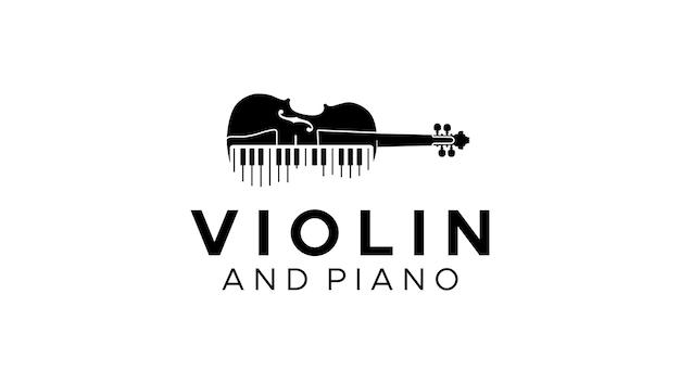 Viool altviool en pianotoetsen muziekinstrument logo ontwerp