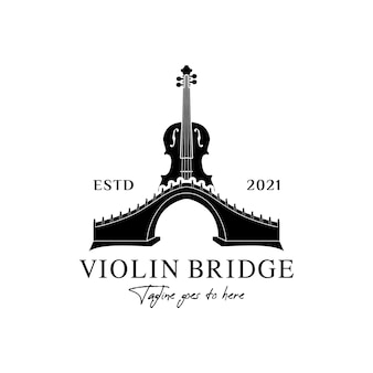 Viool bridge logo muziekinstrument ontwerp inspiratie