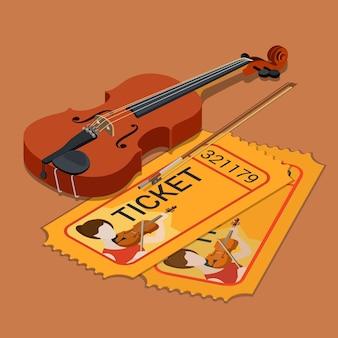 Viool klassiek orkest concert muziek show aanwezigheidsticket boeken plat isometrisch