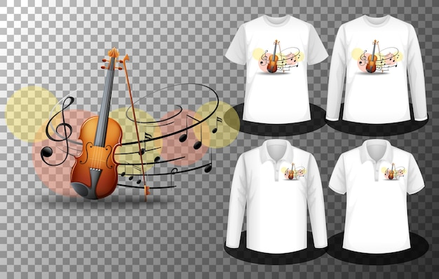 Vioolmuziek notities logo met set van verschillende shirts met vioolmuziek notities logoscherm op shirts