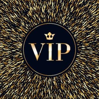 Vip-abstracte gouden gloed glitter achtergrond met kroon. goed voor de wenskaart van de uitnodiging, luxe vip reclame banner poster flyer dekking.