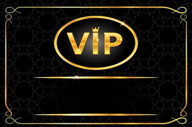 Vip-achtergrond met glanzende gouden tekst met kroon en frame op zwart arabisch patroon. premium en luxe banner of uitnodiging sjabloonontwerp. vector illustratie.