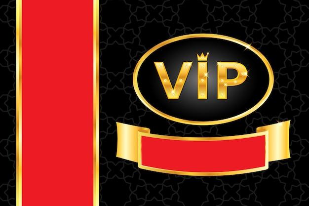 Vip-achtergrond met glanzende gouden tekst met kroon en gloeiende diamanten, frame, rode streep op zwart arabisch patroon. premium en luxe banner of uitnodiging sjabloonontwerp. vector illustratie.