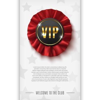 Vip-achtergrond met realistische rode stoffen award lint.