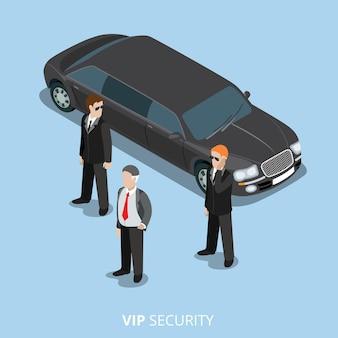 Vip-beveiliging bodyguard service platte 3d isometrische web illustratie