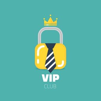 Vip-clublogo in vlakke stijl. alleen vip club-leden