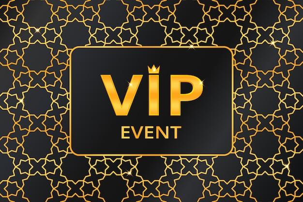 Vip-evenementachtergrond met gouden tekst met kroon op gouden arabisch patroon. premium en luxe banner of uitnodiging sjabloonontwerp. vector illustratie.