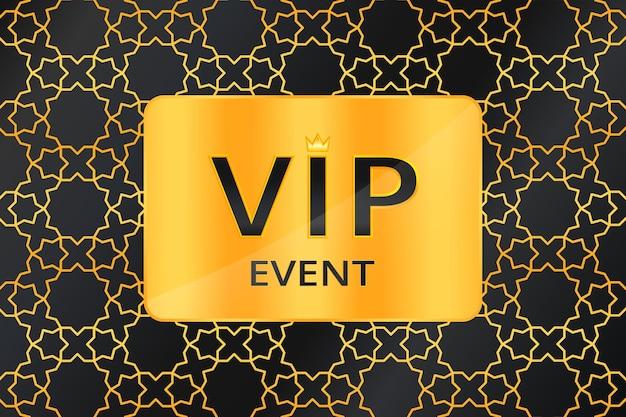 Vip-evenementachtergrond met zwarte tekst met kroon en gouden kaart op gouden arabisch patroon. premium en luxe banner of uitnodiging sjabloonontwerp. vector illustratie.