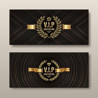 Vip gouden uitnodigingssjabloon. Premium Vector