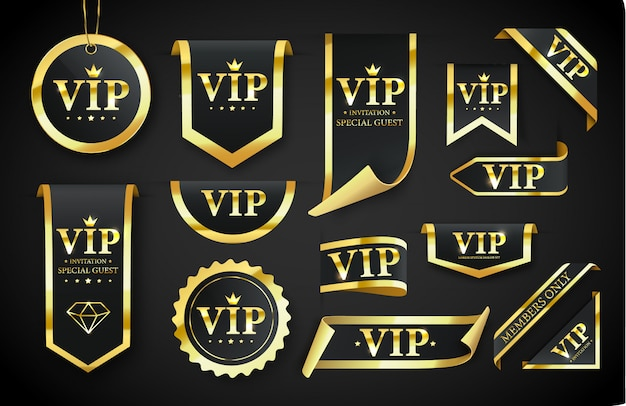 Vip-label, badge of tag. vector zwarte banner met gouden vip-tekst. vector illustratie