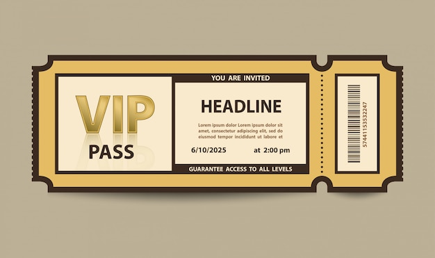 Vip-pas toegang stub ticket