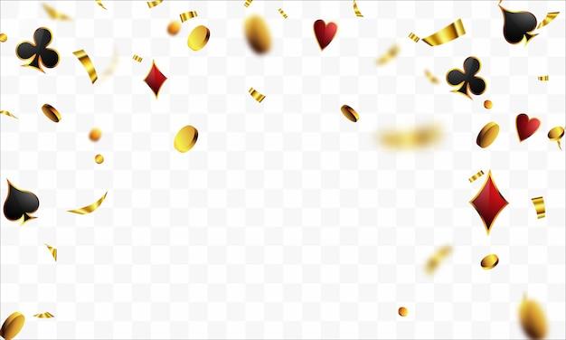 Vip poker luxe vip-uitnodiging met confetti feestfeest gokken banner achtergrond.