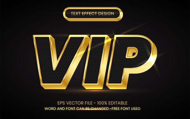 Vip-teksteffect 3d-gouden stijl bewerkbaar teksteffect