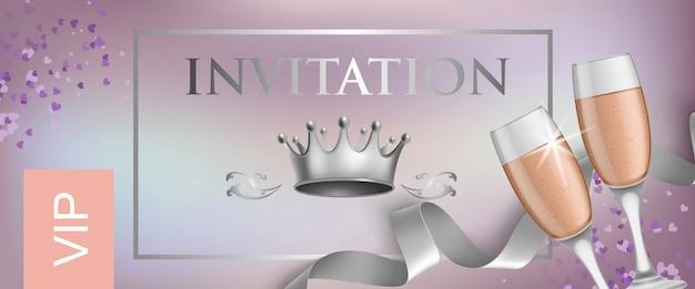 Vip-uitnodiging belettering met kroon en bekers met champagne