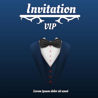 Vip-uitnodiging bowtie roken concept, realistische stijl
