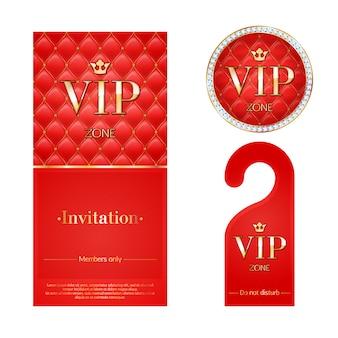 Vip-uitnodigingskaart, waarschuwingshanger en badge.