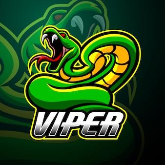 Viper mascotte esport logo ontwerp