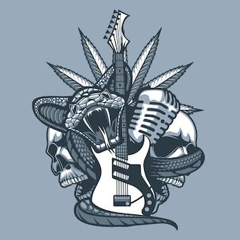 Viper omhult de gitaar