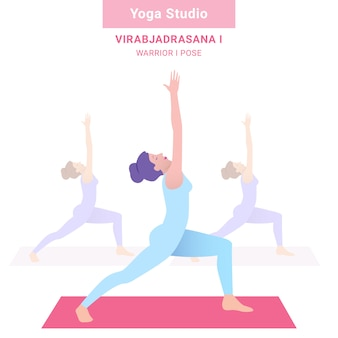 Virabjadrasana i. warrior i pose. yogastudio. vector yoga