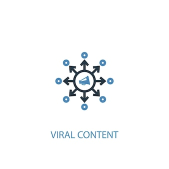 Virale inhoud concept 2 gekleurd pictogram. eenvoudige blauwe elementenillustratie. virale inhoud concept symbool ontwerp. kan worden gebruikt voor web- en mobiele ui/ux
