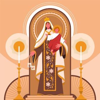 Virgen del carmen illustratie