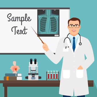 Viroloog met radiologie op stand