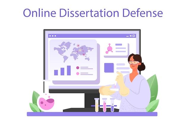 Viroloog online service of platform. wetenschapper bestudeert virus