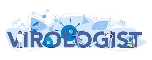 Viroloog typografische koptekst concept