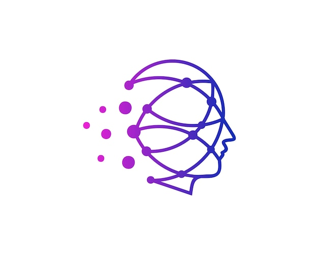 Virtual head icon logo design
