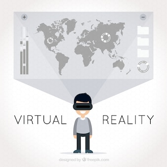Virtual reality achtergrond met kaart van de wereld en de mens met behulp van virtuele bril