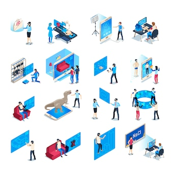 Virtual reality-apparaat. isometrische onderdompeling training ervaring in vr-apparatuur. ondergedompelde menselijke illustratie collectie