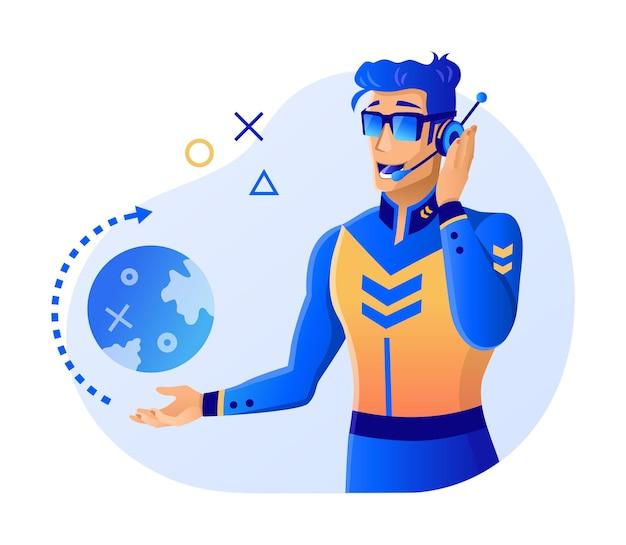 Virtual reality, augmented reality, man-dispatcher aan het werk in vr-bril