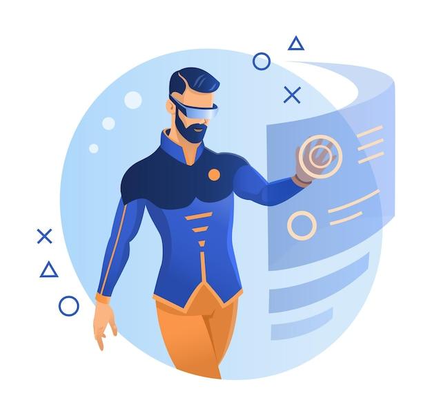 Virtual reality, augmented reality, man-ontwikkelaar aan het werk in virtual reality-bril