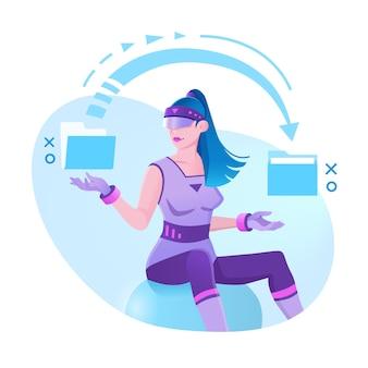 Virtual reality, augmented reality, vrouwelijke ontwikkelaar die werkt met een virtual reality-bril