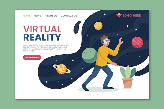 Virtual reality bestemmingspagina ruimteconcept