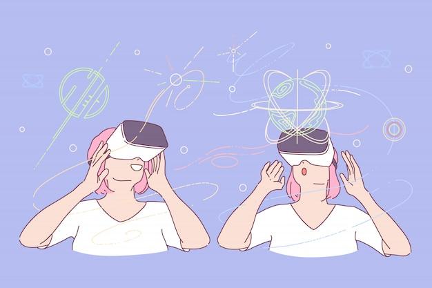 Virtual reality, computer gesimuleerde wereldillustratie