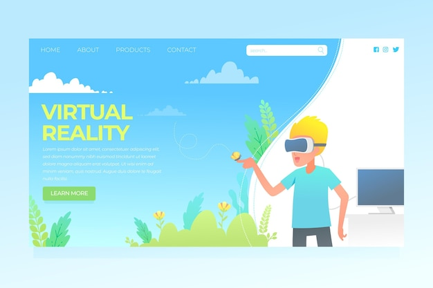 Virtual reality-concept - bestemmingspagina