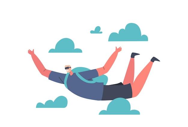 Virtual reality-concept. man karakter dragen moderne 3d-bril vr spel spelen vliegen met parachute in blauwe lucht met wolken, parachutespringen ervaring cyber technologies. cartoon vectorillustratie