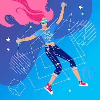 Virtual reality-concept met een meisje dat interactie heeft met een denkbeeldig universum door middel van een vr-bril. vrouw die een virtuele werkelijkheidshoofdtelefoon draagt die videospelletje speelt. vlakke afbeelding.