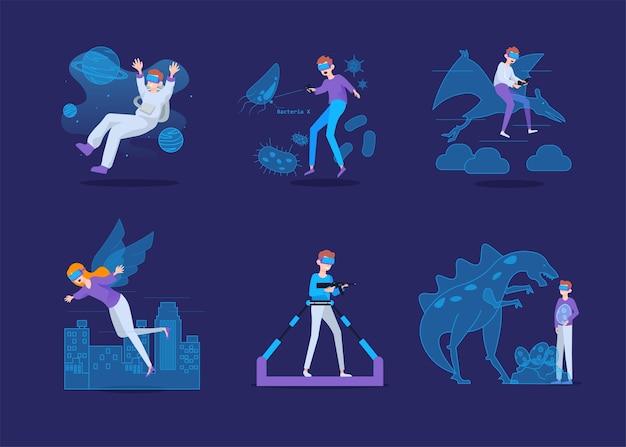 Virtual reality-concept met mensen die een virtual reality-bril dragen