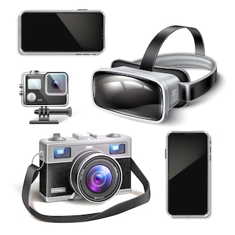 Virtual reality headset lucht drone-actie en vintage camera quad copter smartphone mockup