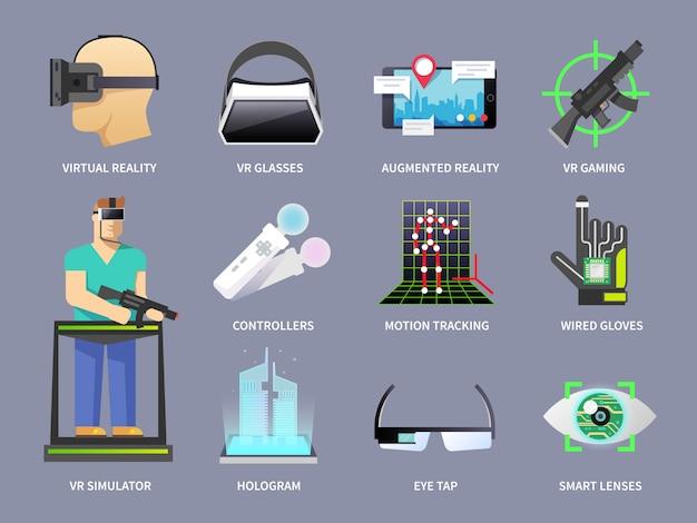 Virtual reality iconen set