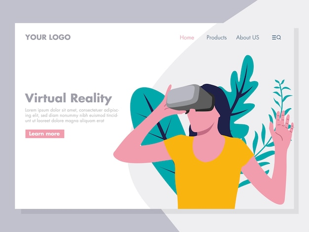 Virtual reality illustration voor landingspagina
