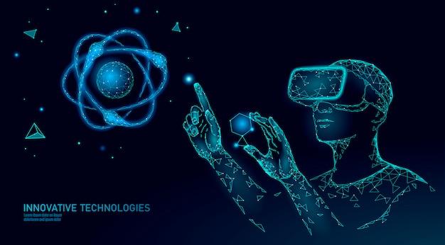 Virtual reality science research concept. ingenieur werkt aan project augmented reality. 3d-bril headset vr data-analyse digitaal apparaat. online geneeskunde technologie illustratie
