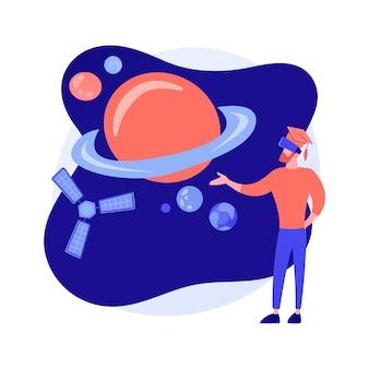 Virtual reality verkenning van de ruimte. innovatieve onderwijstechnologie, modern entertainment, meeslepende ervaring