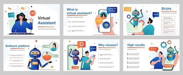 Virtueel assistent-concept voor presentatiedia-sjabloon operator adviseert klanten