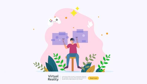 Virtueel augmented reality-achtergrondsjabloon